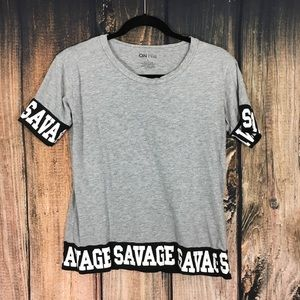 On FIre Savage Gray Black and White Shirt Large